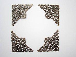 Komponenty - Ozdobné kovové rohy - Antik- sada4 ks-L - 7933689_