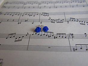 Náušnice - Modré ružičky - 7932131_
