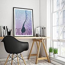 Grafika - PIEŠŤANY, elegantné, modro-fialové - 7932370_