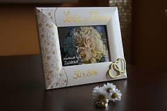 Rámiky - Svadobný fotorámik zlatá čipka - 7930575_