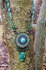 Náhrdelníky - Tyrkysovo zelený náhrdelník s maskou - 7931286_
