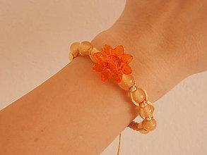 Náramky - Náramok s oranžovým kvetom - 7932194_