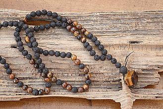 Šperky - Pánsky náhrdelník láva a tigrie oko - 7934719_