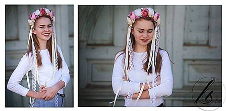 Ozdoby do vlasov - Romantická ružová parta - 7935450_