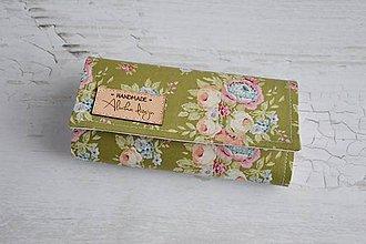 Peňaženky - Peňaženka zelená s ružami - 7935534_