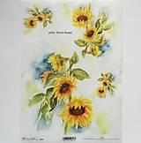 Papier - Ryžový papier na decoupage - A4 - R913 - slnečnica, kvet - 7934926_
