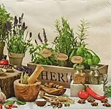 Papier - S949 - Servítky - bylinky, bazalka, mäta, levandula, kvetináč - 7936173_