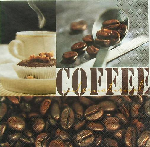 S950 - Servítky - coffee, káva, kafe, zrnko, šálka, café, lyžička