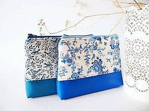 Taštičky - Kozmetická taška veľká-elegantná modrobiela - 7935939_
