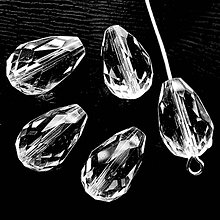 Korálky - Skl.brús.kvapka 16x10mm-1ks (krystal) - 7935059_
