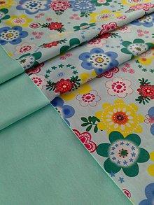 Úžitkový textil - Štóla na stôl mentolová*kvety* - 7934491_