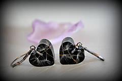 Náušnice - Náušnice Čierna púpava v srdiečku (2142 A CHO) - 7934936_