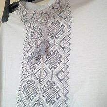 Oblečenie - Vyšívané tričko Bielosivé Adam - 7936150_
