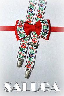 Doplnky - Folklórny pánsky červený motýlik a traky - folkový - ľudový - 7936501_
