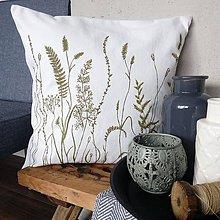Úžitkový textil - Vankúš trávy - olivovo zelená - 7935941_