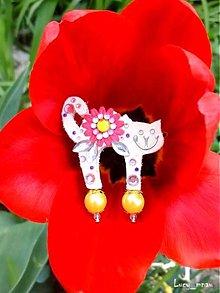 Odznaky/Brošne - Brošnička mačička-kvetinková :) - 7937819_