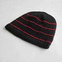 Čiapky - Háčkovaná čiapka s tenkými červenými pásikmi - 7937175_