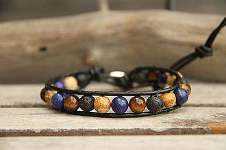 Šperky - Pánsky kožený náramok láva, jaspis, lapis lazuli, tigrie oko - 7935956_