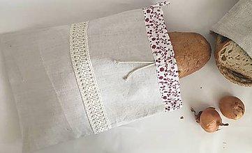 Úžitkový textil - Podšité vrecúško na chlieb s ručne hačkovanou krajkou - 7937741_