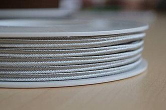 Galantéria - Šujtášová šnúrka strieborná 3mm, 0.24€/meter - 7935104_