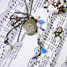 Sady šperkov - Mediterranean Sea Locket Necklace & Earrings / Set medailónu a náušníc s minerálmi - 7941262_