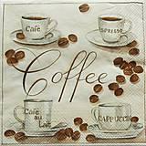 Papier - S953 - Servítky - café, káva, coffee, laté, cappuccino, zrnko - 7938766_