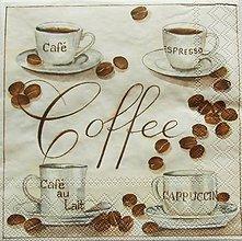 Papier - S953 - Servítky - café, káva, coffee, laté, cappuccino, zrnk - 7938766_