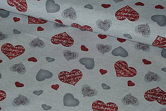 Textil - Látka Srdiečka na šedej - 7940142_