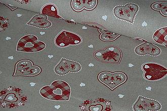 Textil - Látka Červené srdiečka a príroda na režnej - 7940229_