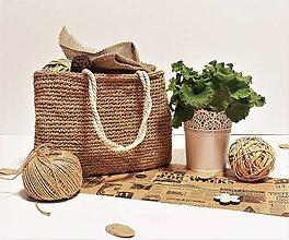 Veľké tašky - Jutová taška / kôš háčkovanec veľký. - 7941971_