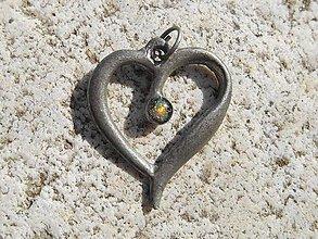 Náhrdelníky - heart with opal-little III - 7940315_