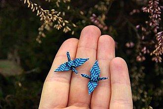 Náušnice - Jeřábci modří napichovací - 7942346_