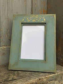 """Rámiky - drevený rámček na fotku """"Tyrkys vintage"""" - 7942434_"""