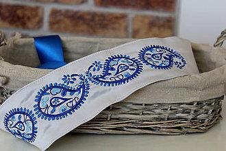 Opasky - Vyšívaný opasok - modré paisely - 7941615_