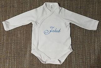 Detské oblečenie - Prekladacie body s vyšitým menom dieťaťa - veľkosť 56,62,68 - 7941165_