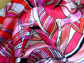 Šatky - Hodvábna šatka ružovo-červená - 7941763_