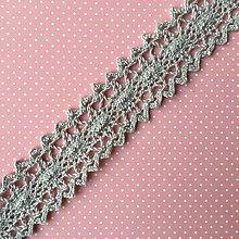 Galantéria - sivá bavlnená paličkovaná čipka 23 mm x 1 m - 7940806_