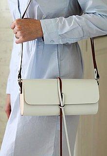 Kabelky - Listová kabelka na rameno MINI WIDE (WHITE) - 7939775_