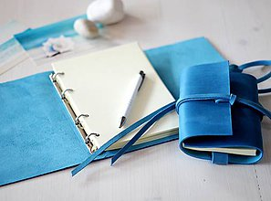 Papiernictvo - Kožený zápisník / karisblok A5 BLUE DENIM - 7940922_