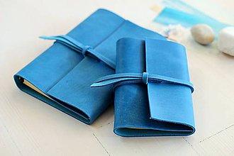 Papiernictvo - Kožený zápisník/ karisblok A6 DENIM BLUE - 7941825_