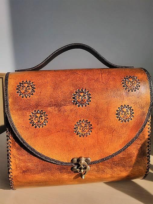 Kožená kabelka Slniečko