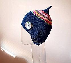 Detské čiapky - Tmavomodrá čiapka s gombíkom - 7941348_