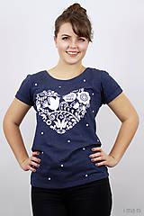 Tričká - Dámske tričko modré melírové VIERA, NÁDEJ, LÁSKA - 7940075_