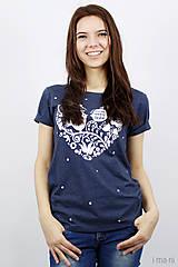 Tričká - Dámske tričko modré melírové VIERA, NÁDEJ, LÁSKA - 7940084_