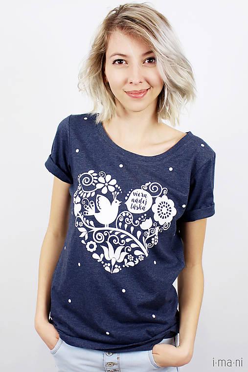 Dámske tričko modré melírové VIERA, NÁDEJ, LÁSKA