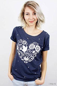 Tričká - Dámske tričko modré melírové viera, nádej, láska - 7940081_