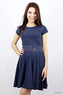 Šaty - Dámske šaty 11 modrý melír kruhové - 7941450_