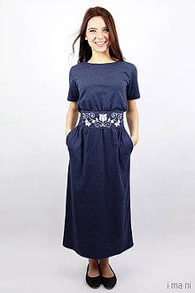 Šaty - Dámske šaty 12 modrý melír dlhé s opaskom - 7941494_