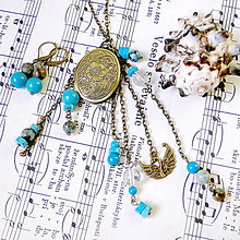 Sady šperkov - Turquoise Locket Necklace & Earrings / Set medailónu a náušníc s tyrkysom - 7945649_