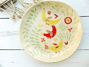 Nádoby - Keramický tanier, miska, folková, jarná, veľkonočná - 7943879_